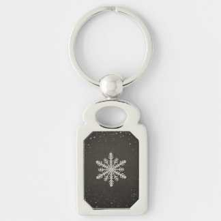 Winter Snowflake White Chalk Drawing Silver-Colored Rectangle Key Ring