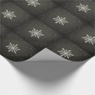 Winter Snowflake White Chalk Drawing Wrapping Paper