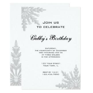 Winter Snowflakes Birthday Party Invitation