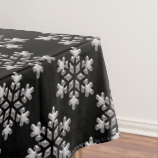 Winter Snowflakes Black And White Christmas Snow Tablecloth