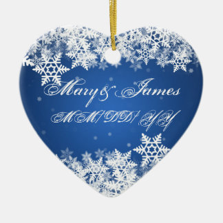 Winter Snowflakes Blue Wedding Favor Sapphire Christmas Ornament