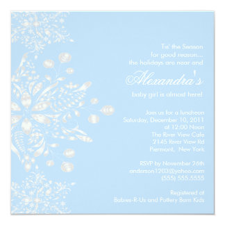 Winter Snowflakes Boy Baby Shower Invitation