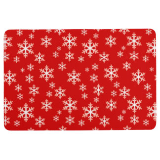 WINTER SNOWFLAKES, Christmas Red & White Floor Mat