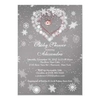 Winter Snowflakes Heart Baby Shower Invitation