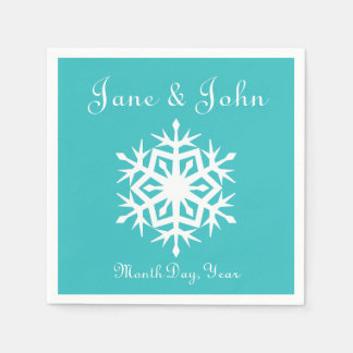 Winter Snowflakes in Turquoise Napkins Disposable Napkins