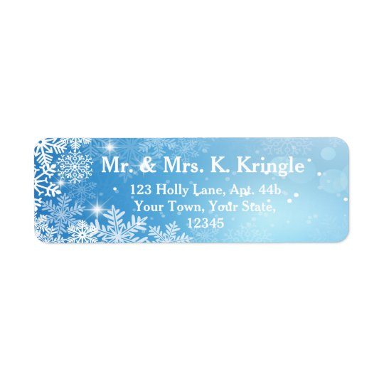 Winter Snowflakes On Blue Address Labels