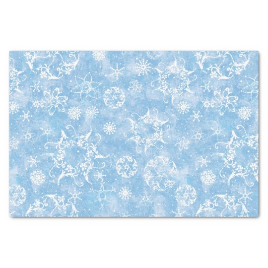 Winter Snowflakes on Blue Tissue Paper
