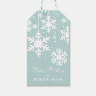 Winter Snowflakes on Pale Blue Gift Tags