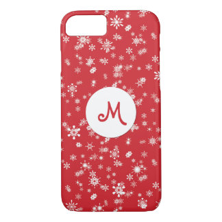 Winter Snowflakes on Red Monogram iPhone 7 Case