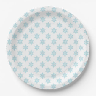 Winter Snowflakes Pattern Blue Holiday Design 9 Inch Paper Plate