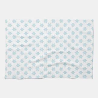Winter Snowflakes Pattern Blue Holiday Design Tea Towel