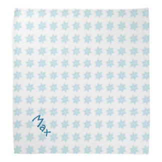 Winter Snowflakes Pattern Blue Holiday Pet Name Head Kerchiefs