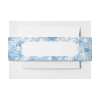 Winter snowflakes pattern on blue invitation belly band
