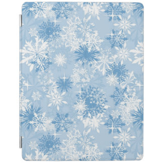 Winter snowflakes pattern on blue iPad cover