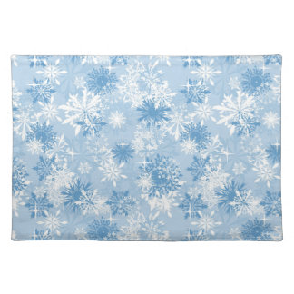 Winter snowflakes pattern on blue placemat
