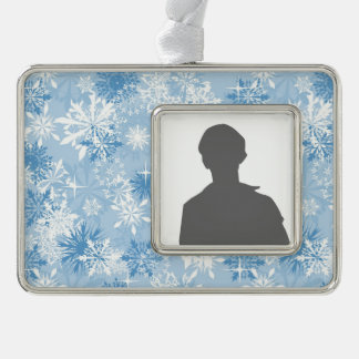 Winter snowflakes pattern on blue silver plated framed ornament