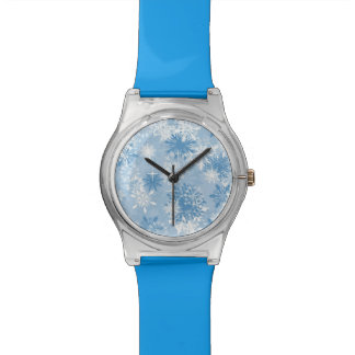 Winter snowflakes pattern on blue watch