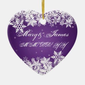 Winter Snowflakes Purple Elegant Wedding Favor Christmas Ornament