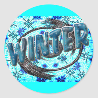 Winter Snowflakes Round Sticker