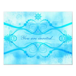 Winter Snowflakes Shades of Blue 11 Cm X 14 Cm Invitation Card