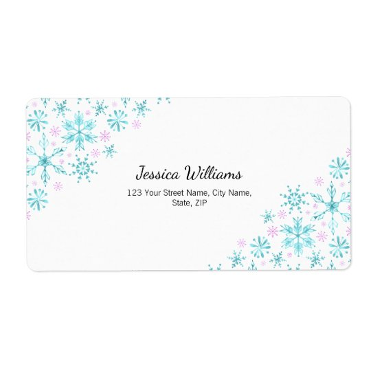 Winter Snowflakes Shipping Label