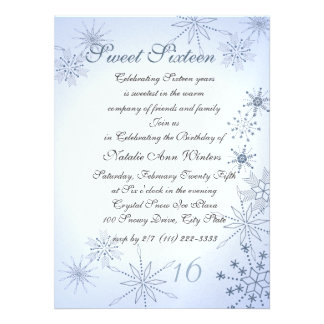 Winter Snowflakes Sweet Sixteen Invitations