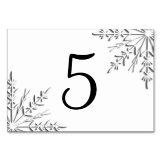 Winter Snowflakes Table Numbers Table Card