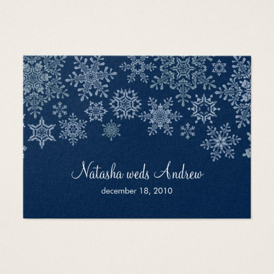 Winter Snowflakes Wedding Directions Enclosure Business Card