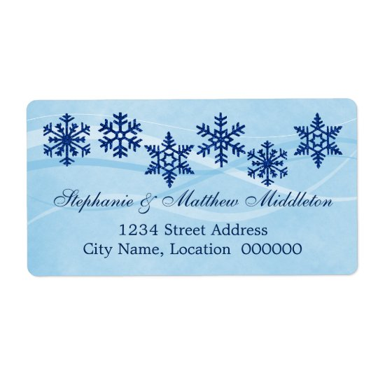 Winter Snowflakes Wedding Shipping Labels