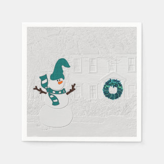 Winter Snowman and House Wreath in Teal Holiday Paper Napkin