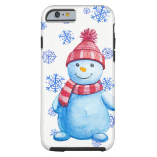 Winter Snowman and Snowflakes Tough iPhone 6 Case