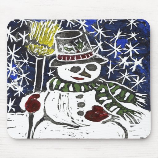 Winter Snowman - Block Print in color Mouse Pads