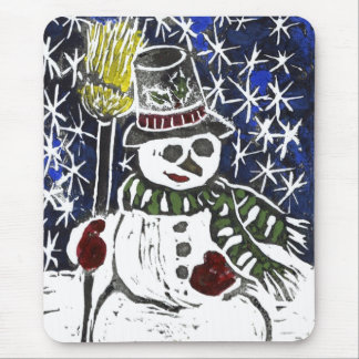 Winter Snowman - Block Print in color Mouse Pad