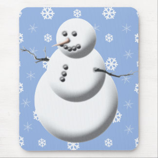 Winter Snowman Blue Holiday Mousepad