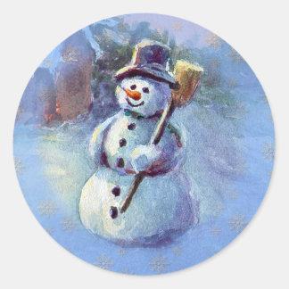 WINTER SNOWMAN by SHARON SHARPE Round Sticker
