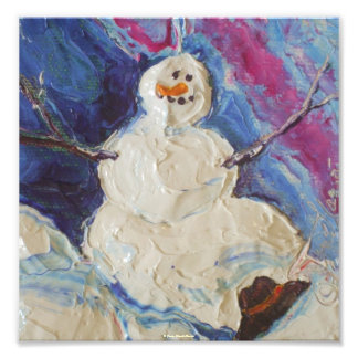 Winter Snowman Christmas Fine Art Poster Art Photo