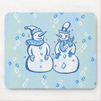 Winter Snowman Couple Mousepads