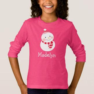 Winter Snowman | Girl's Holiday T-Shirt