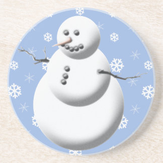 Winter Snowman Holiday Drink Coaster