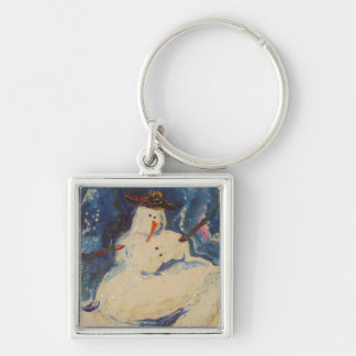 Winter Snowman Silver-Colored Square Key Ring
