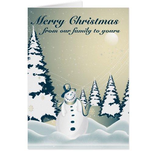 Winter Snowman Merry Christmas 2 Greeting Card