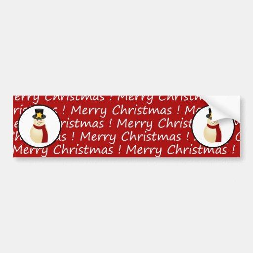 Winter Snowman on Red Merry Christmas Design Bumper Sticker