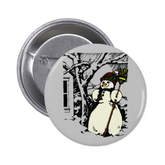 Winter Snowman Painting 6 Cm Round Badge