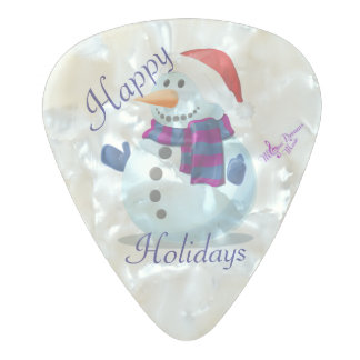 Winter Snowman Pearl Celluloid Guitar Picks