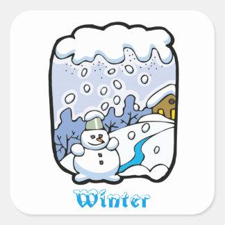 Winter Snowman Seasonal Square Sticker