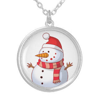 WINTER SNOWMAN SILVER PLATED NECKLACE