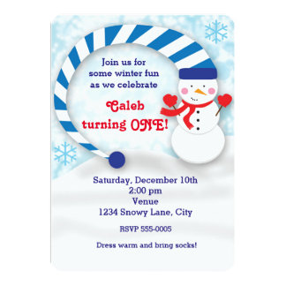 Winter Snowman Snowy Holiday Cute Party Invitation