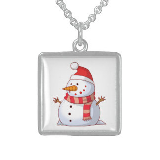 WINTER SNOWMAN STERLING SILVER NECKLACE