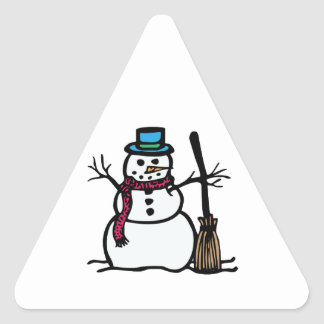 Winter Snowman Triangle Stickers