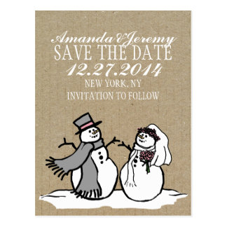 Winter Snowmen Bride & Groom Save The Date Post Card